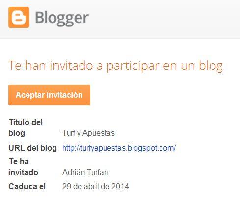 aceptar invitacion blogger