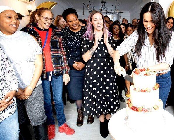 Meghan Markle wore WNU shirt, J.Crew Juliette blazer, Adina Reyter three diamond earrings, Adidas Stan Smith sneakers