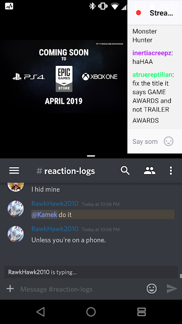The Game Awards 2018 Kamek phone Twitch stream chat Discord reaction log
