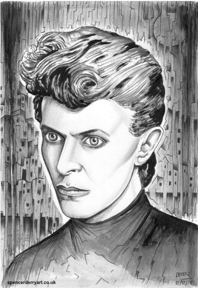 The Thin White Duke aka David Bowie. Hand-drawn with ink pen, pencil and painted with acrylic. Created by British Artist Spencer J. Derry in 2018.  Materials used: