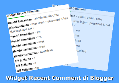 Cara Membuat Widget Recent Comment di Blogger