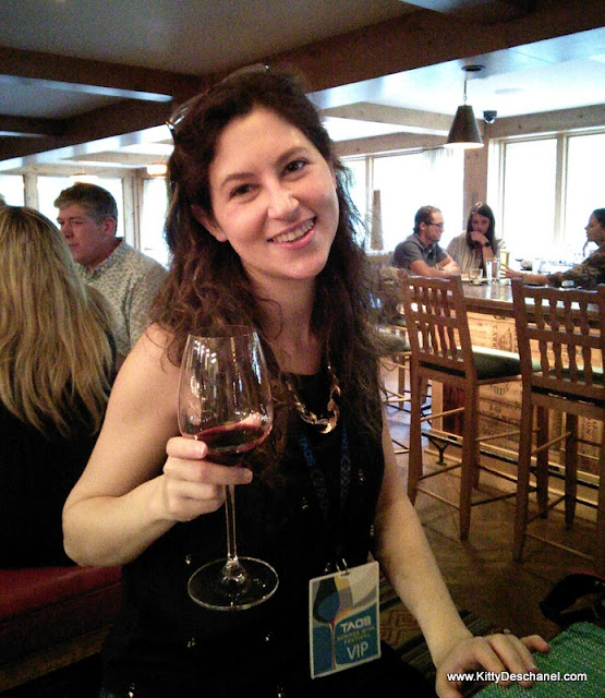 happy blogger at the taos wine festival