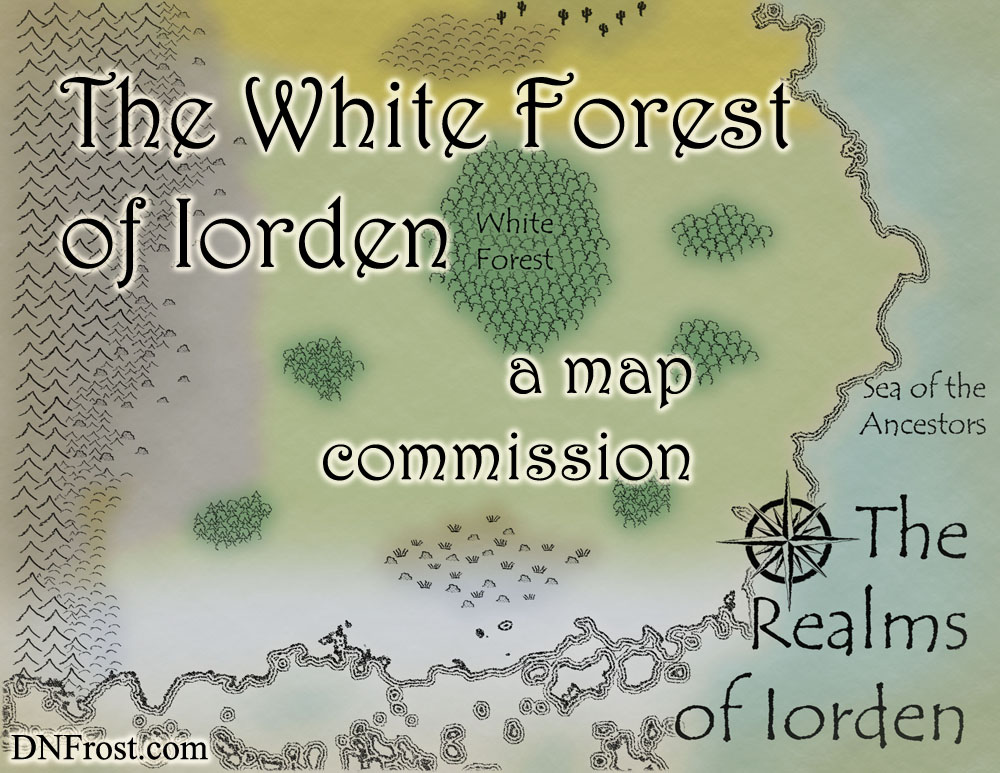 The White Forest of Iorden, a map commission by D.N.Frost for The Once and Future Nerd http://www.dnfrost.com/2016/09/the-white-forest-of-iorden-map.html Part 3 of a series.