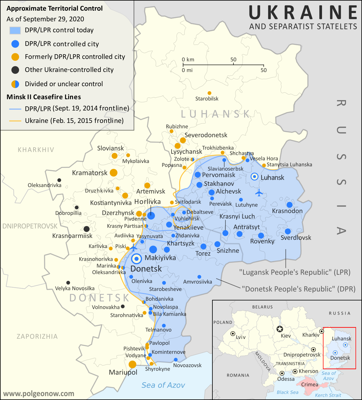 Map of territorial control and frontlines in the Donbass region of Donetsk and Luhansk, internationally recognized as part of eastern Ukraine but partly controlled by the breakaway Donetsk People's Republic and Lugansk People's Republic. Updated for September 2020, with Minsk ceasefire lines shown. Colorblind accessible.