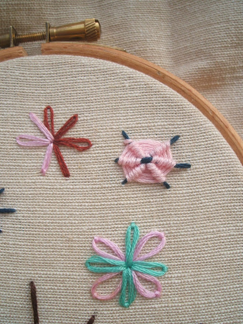 practising ribbed web stitch on an embroidery hoop