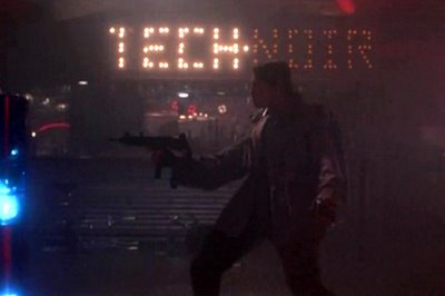 The Terminator attacks Sarah Connor in the Tech Noir night club