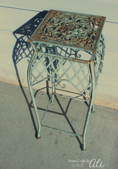 Rustic Plant Stand Decor Piece from Thrift Store