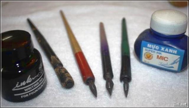 Bình mực, bút lá tre