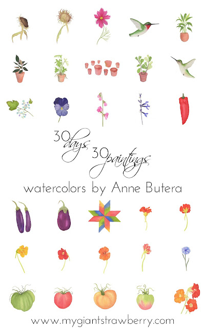 watercolor, daily painting, botanical paintings, Anne Butera, My Giant Strawberry
