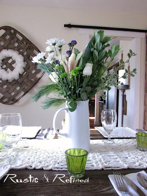 Winter Decor Idea for the Dining Room @ Rustic-refined.com
