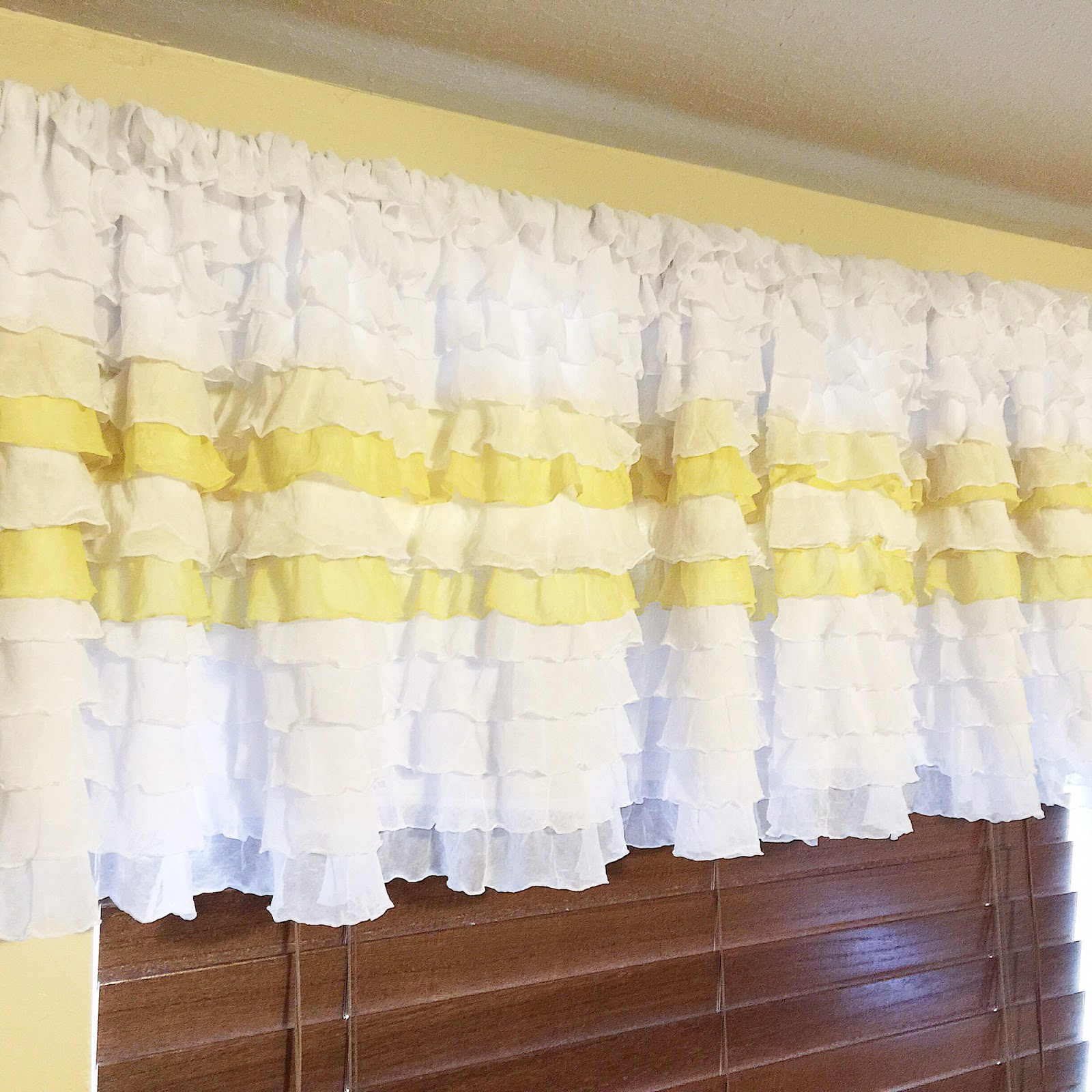 White and Yellow Ruffle Curtain Valance