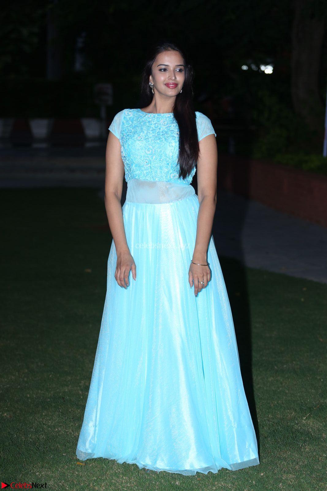 Pujita Ponnada in transparent sky blue dress at Darshakudu pre-release ~ CelebsNext Exclusive Celebrities Galleries