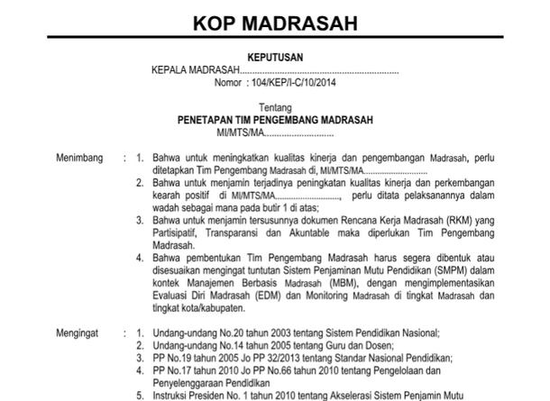 Contoh SK Tim Pengembang Madrasah