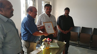 Shri.M.V.Naik, Security Guard, HPT, AIR Bambolim, Goa retires on 30.11.2017