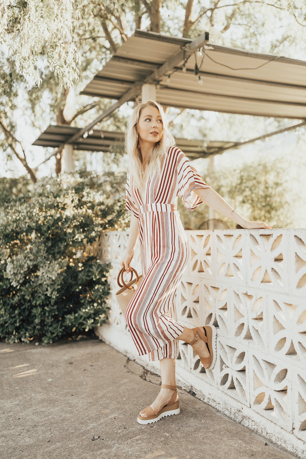 summer bucket list / Lulus stripe jumpsuit