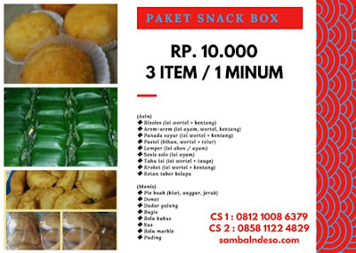 harga order snack  dus isi 4  isi 2 di Ciputat kota Tangerang Selatan