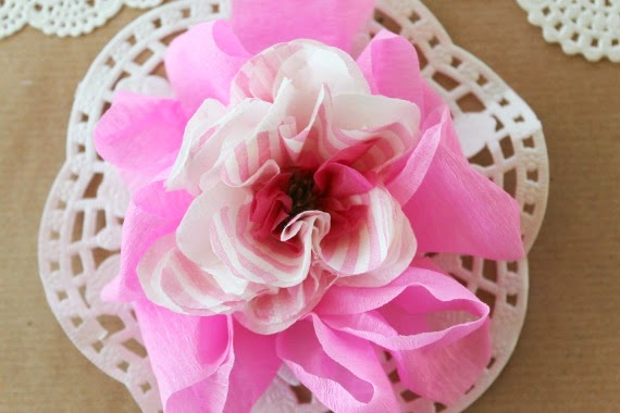 paper flowers how to tutorial tissue paper crepe paper doily pink