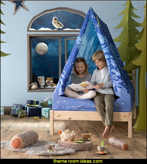 Forest A-Frame Bed Tent Canopy   woodland forest theme bedroom fairies decor - fairy room decor -  woodland nursery decor - woodland animal decorations - fairy woodland bedrooms - deer wall mural - snow white themed bedroom decorating ideas - fairy forest theme bedrooms -