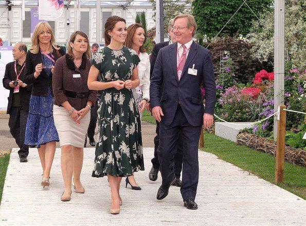 Kate Middleton wore Rochas Floral Printed Silk Crepe de Chine Dress, L.K. Bennett Fern pumps and Monica Vinader Siren Wire Earrings