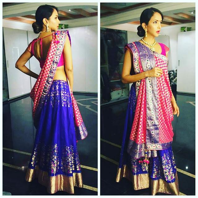 Lakshmi Manchi Blue Silk Lehenga