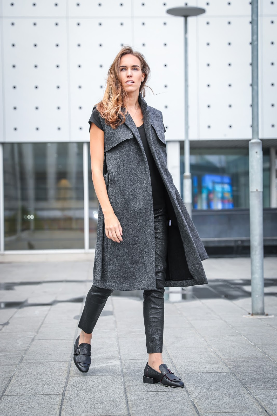 gray wool vest long coat leather pants loafers outfit