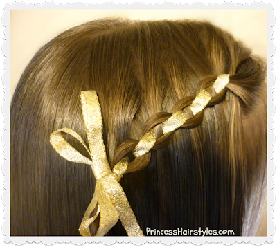 Waterfall chain braid hairstyle with ribbon