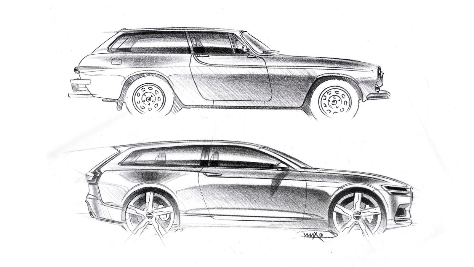 Volvo Concept Estate pencil sketch by Maximilian Missoni