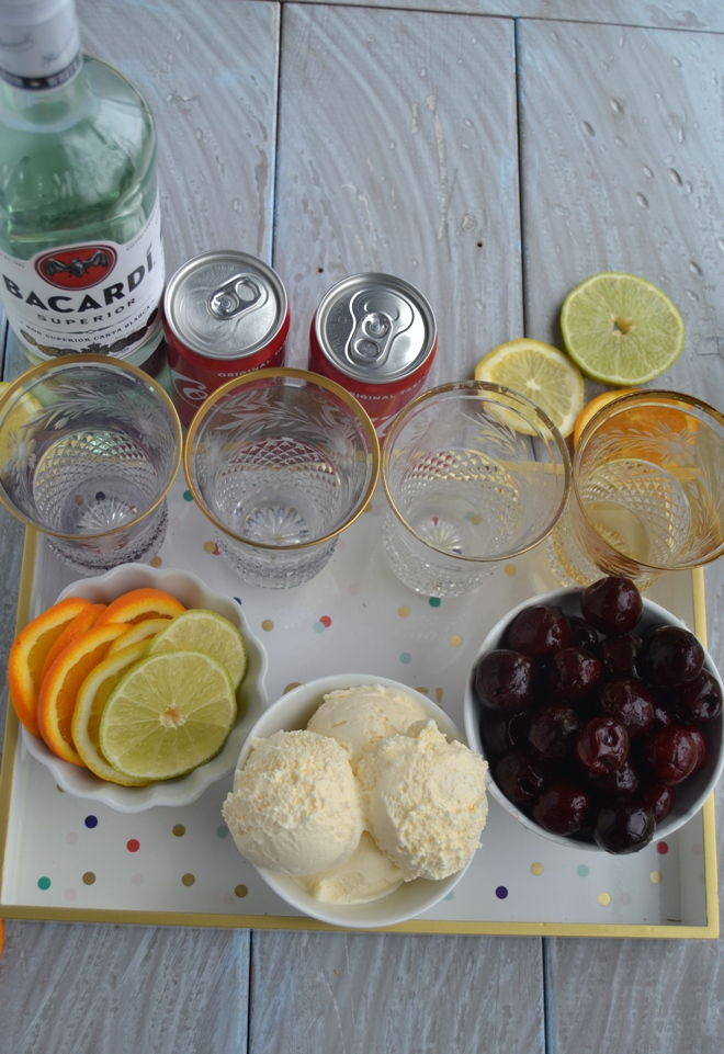 Make Your Own Rum and Coke Bar is perfect for entertaining and is very simple to put together with rum, Coke, lime, lemons, orange slices, cherries and vanilla ice cream! www.nutritionistreviews.com