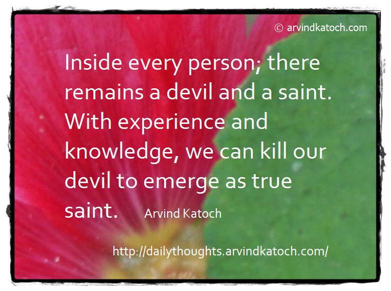 Daily Quote, Saint, Devil, Experience, Knowledge,