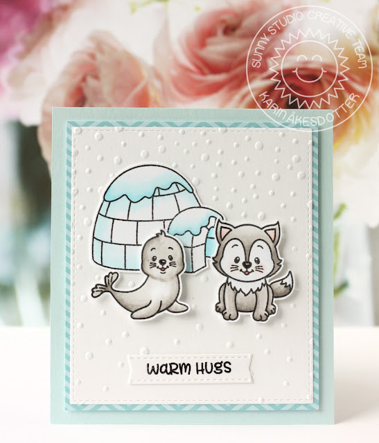 Sunny Studio Stamps: Polar Playmates Winter Hugs Card by Karin Akesdotter