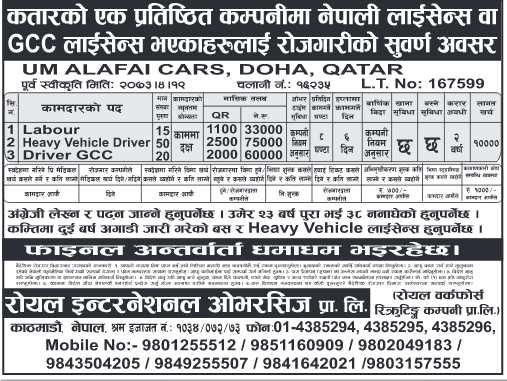 Jobs For Nepali In QATAR, Salary -Rs.75,000/