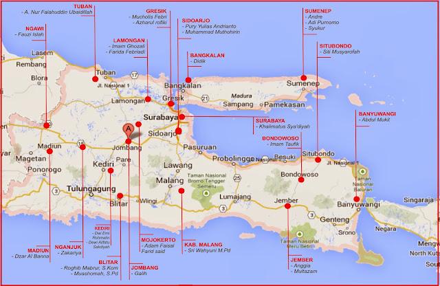 Peta Sebaran Relawan JPPR di Pilgub Jatim