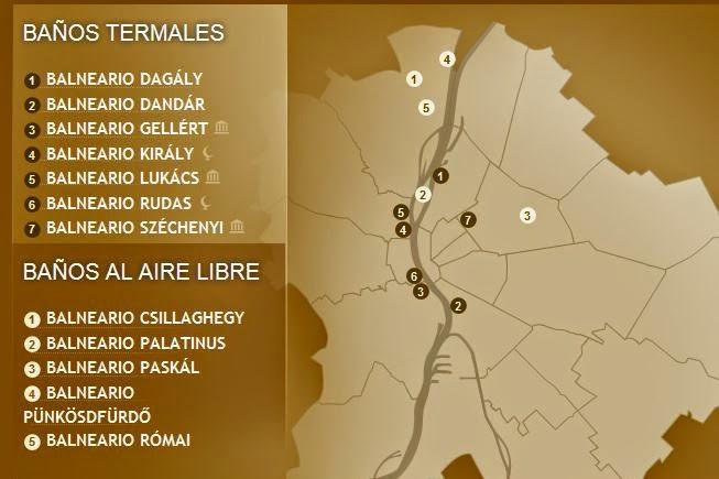 Balnearios de Budapest mapa