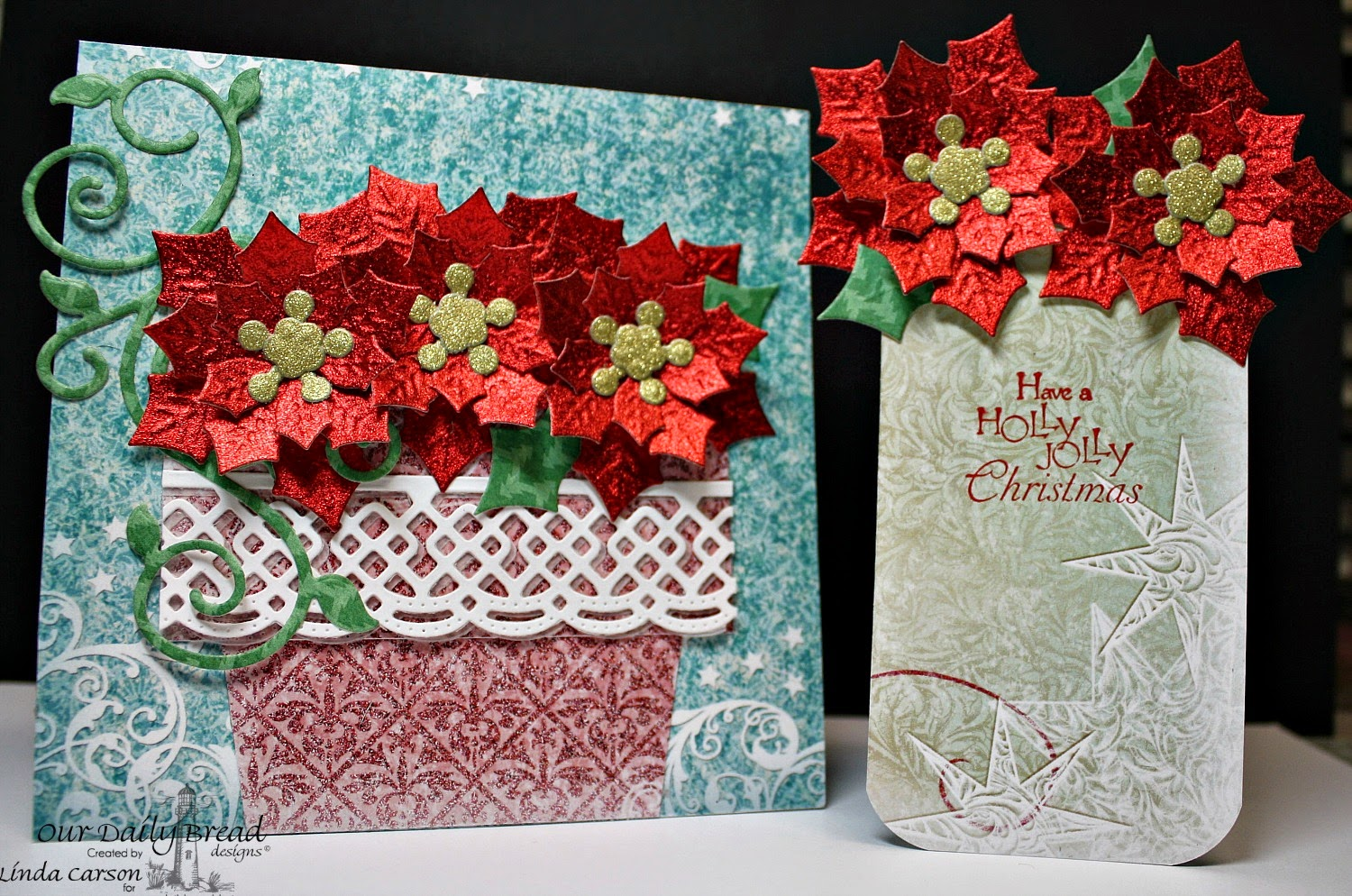 Our Daily Bread Designs, ODBD, ODBD, Holly Wreath, Circle Ornaments die, Peaceful Poinsettia die, Beautiful Borders die, Fancy Foliage die, Christmas Collection 2015, Fancy Folds Flower Pot, designer Linda Carson