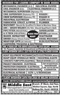 Recruitment for a leading Saudi Arabian company