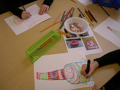 sub plan - students drawing pastries in the style of Wayne Theibaud