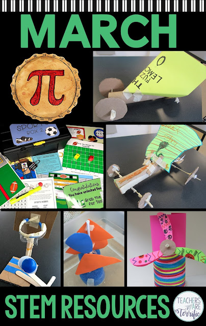 Perfect resources to keep your elementary students engaged during the month of March. This post shares STEM Challenges, an Escape Room, a math resource for Pi Day, and lots of tips. #STEM #escaperoom #elementary