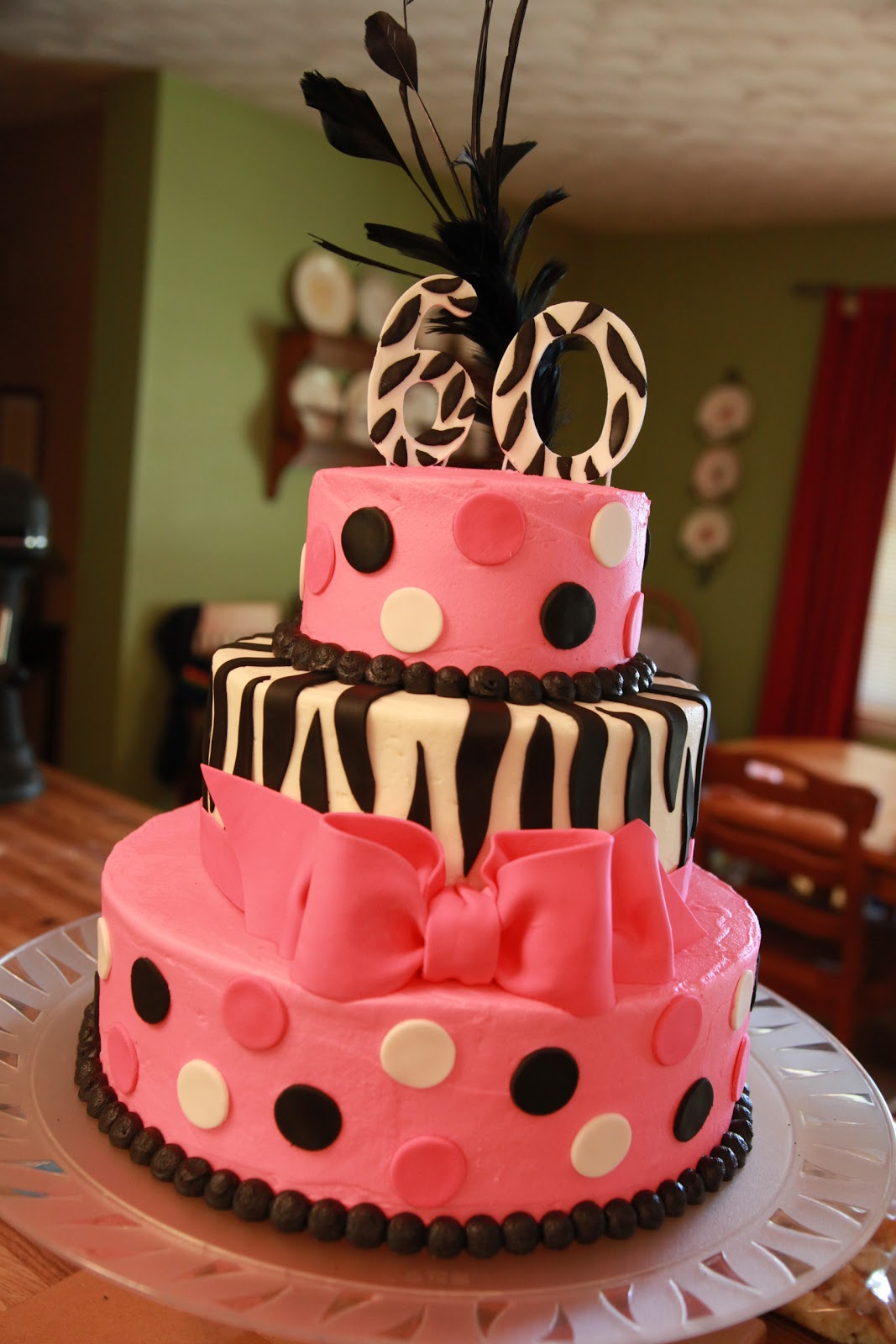 The Cake Box Girls Zebra Stripe Amp Hot Pink 60th Birthday Cake