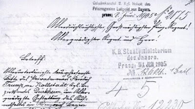 Documento de 1905 en el que Friedrich Trump intenta recuperar su residencia en Alemania.