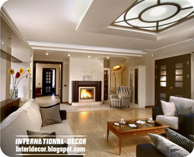 Top 10 suspended ceiling tiles designs and lighting for - Interior design ceiling living room ...