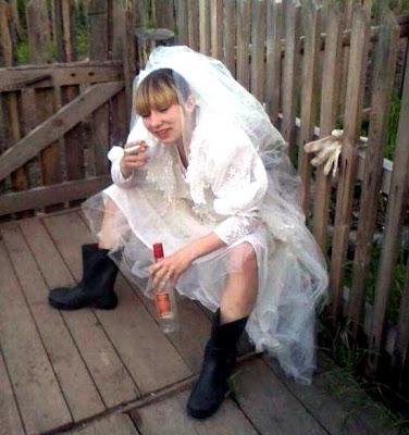 Drunk smoking bride