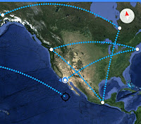 Image: Google Maps image depicting several distances of 2600 miles.