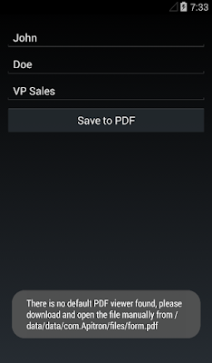 Pic. 3 Create PDF form using Xamarin.Forms (Android UI)