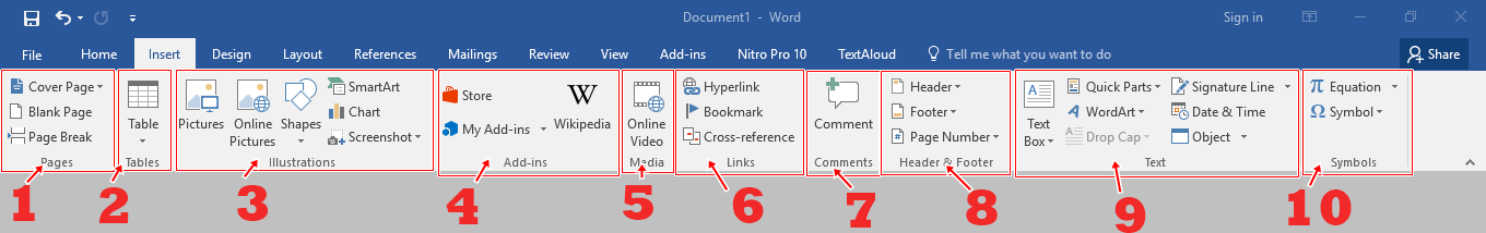 Menu bar Insert Microsoft Word 2016