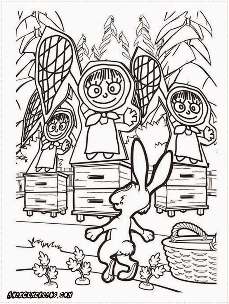 gambar mewarnai kelinci dan masha