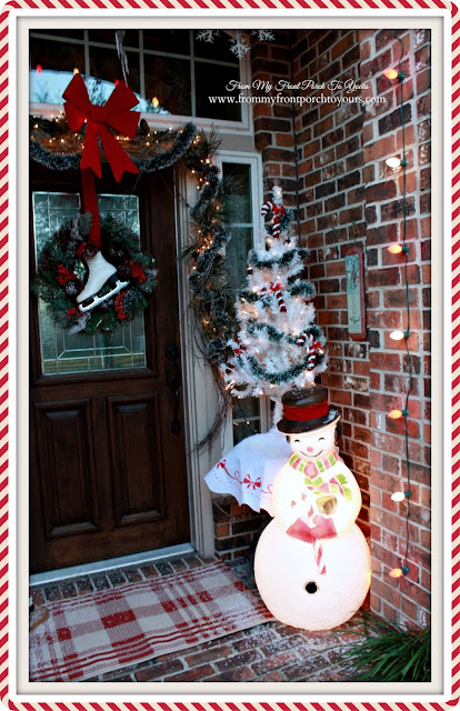 Blow Mold Snowman-White Christmas Tree- Candy Canes-Christmas Front Porch-From My Front Porch To Yours