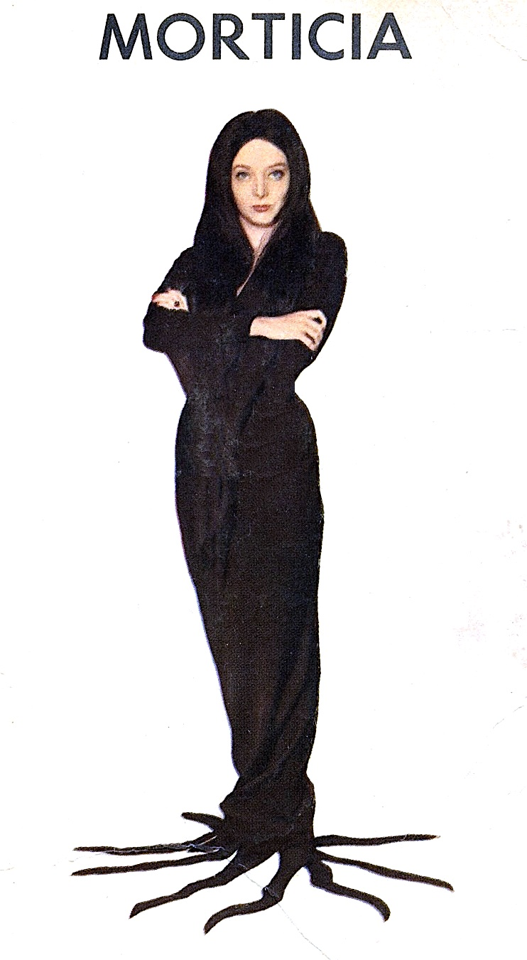 Carolyn Jones as Morticia Addams in 1960s television show The Addams Family, a color photograph