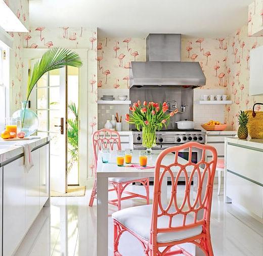 Palm Beach Kitchen Flamingo Wallpaper