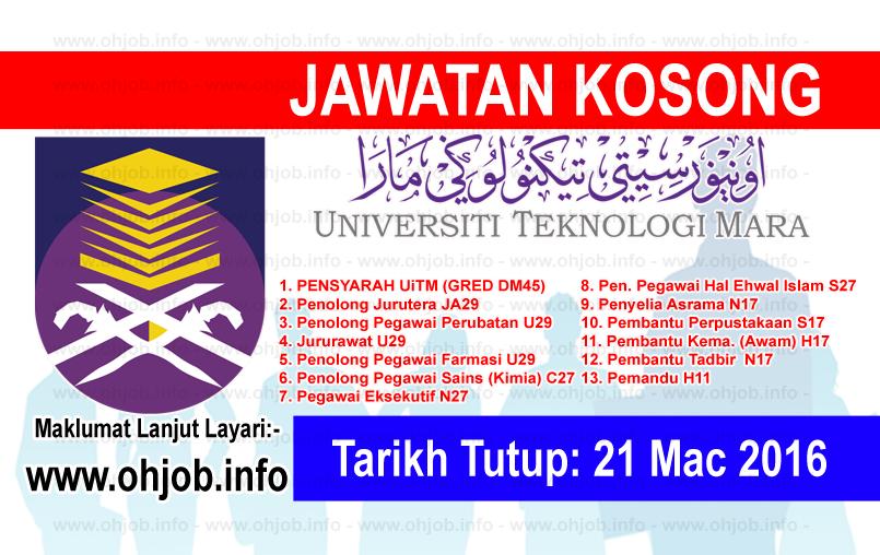 Jawatan Kerja Kosong Universiti Teknologi MARA (UiTM) logo www.ohjob.info mac 2016