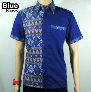 Contoh baju kemeja batik untuk pria perpaduan kain polos